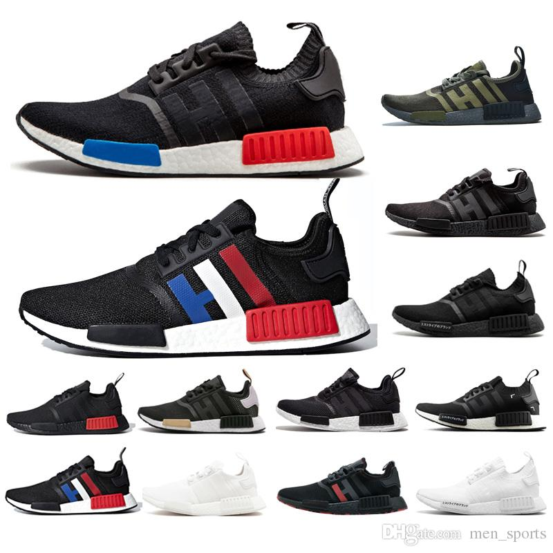 2019 Zapatos de diseñador para hombre NMD R1 atmos Bred Running Shoes Tri-Color OG Classic Hombres Mujeres Japón Negro Triple Marble Sports Trainer Sneakers