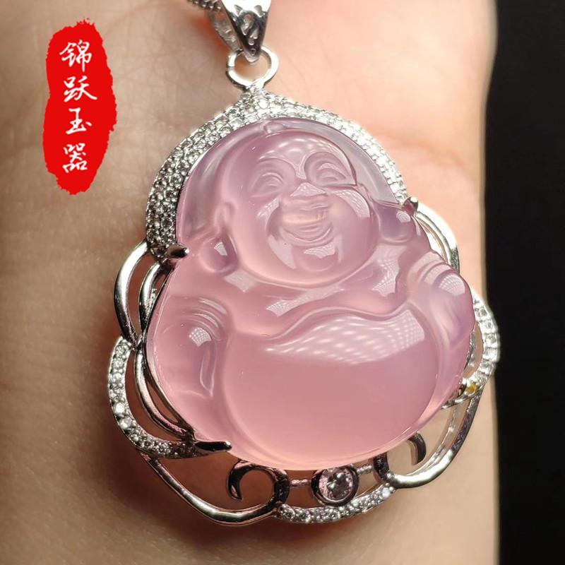 Specie di ghiaccio naturale medulla rosa Agata Buddha Maitreya pendente femminile Buddha Gong in argento 925 collana intarsiata