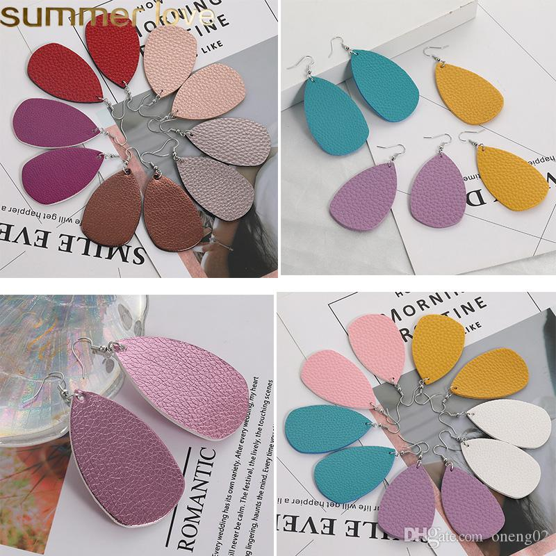New Unique Design PU Leather Oval Earrings For Women Girls Fashion Simple Statement Colorful Teardrop Hook Earrings Jewelry Gifts