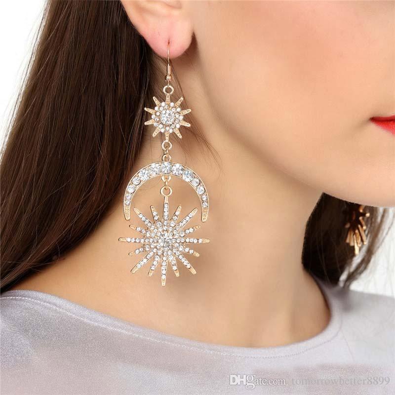 Moon Star lungamente ciondolano l'orecchino Sun di nuovo arrivo per il regalo dei monili delle donne annata esagerazione di goccia di cristallo di modo dell'orecchino di stile
