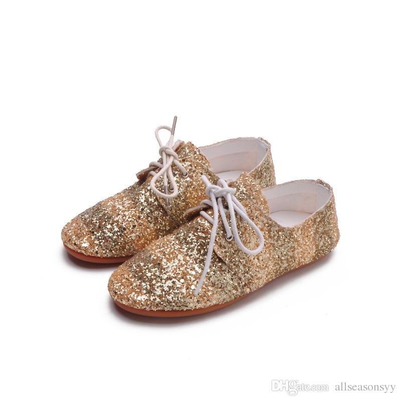 Autumn New Baby Girls Fashion Pu Leather Sequin Casual Soft Shoe Children Gold Oxford Kid Flat
