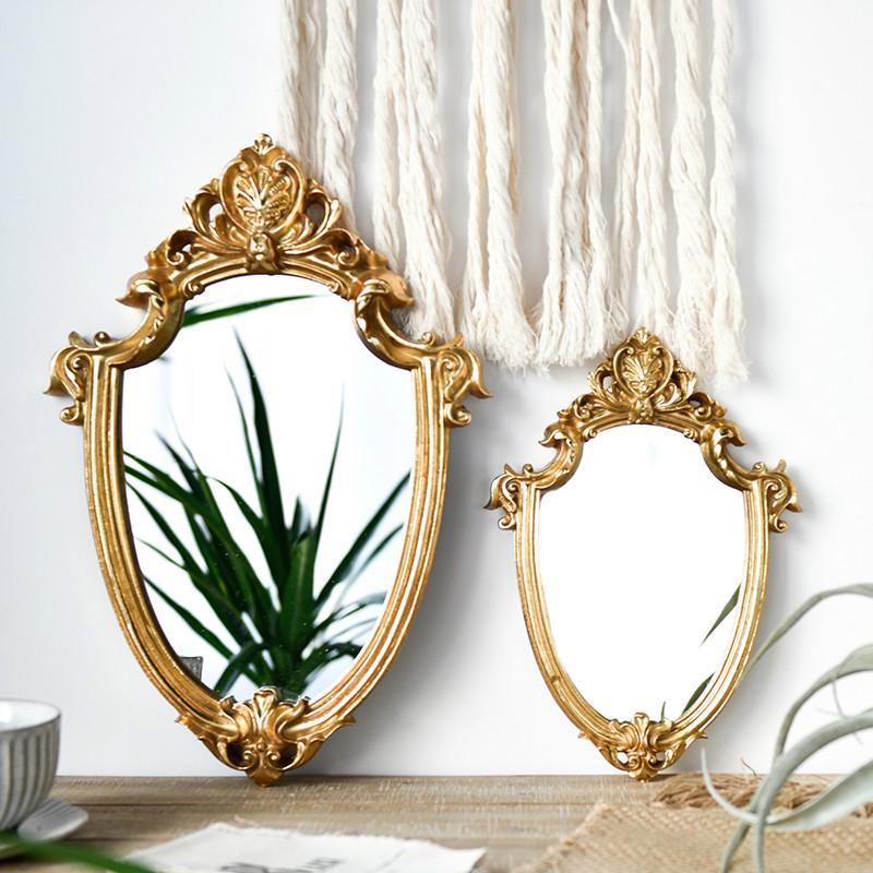 مرآة ماكياج ذهبية منقوشة من الشمال الأوروبي ... ... ريترو القديمة ضوء فاخر ... ... الديكوراتالبيتية مرآة تركيب الحمام مرآة
