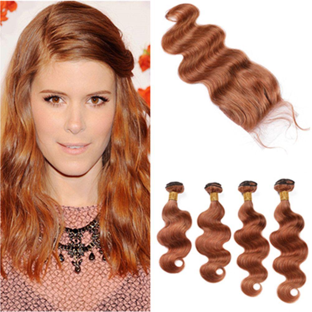 """Medium Auburn Virgin Hair Закрытие с Связкой # 30 Светло-коричневого перуанского Body Wave человеческих волос переплетений Расширение с Lace Closure 4x4"""""""
