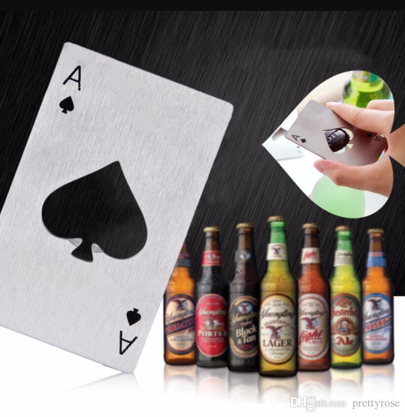 Yaratıcı hediye Siyah / Gümüş Poker Kart Bira Açıcı Kişiselleştirilmiş Paslanmaz Çelik Kredi Kartı Maça Bar Aracı'nın Açıcı Kartını Şişe