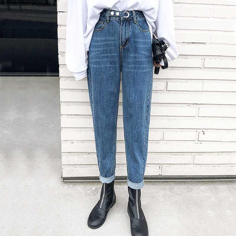 Женские джинсы философия удивление 2021 весенние сплошные повседневные свободные осени высокая талия джинсовые брюки винтажные редьки женские
