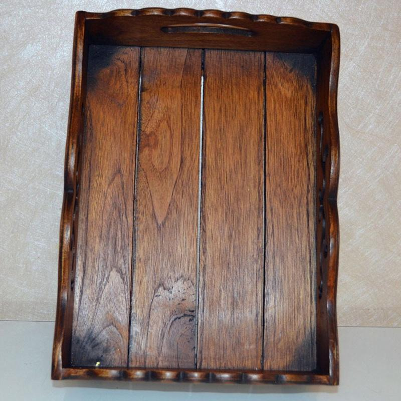 Europäische Retro Kreative Frucht-Platte Massivholz geschnitzte Süßigkeit Snack Teller Haushalt Holz Obst-Speicher-Korb