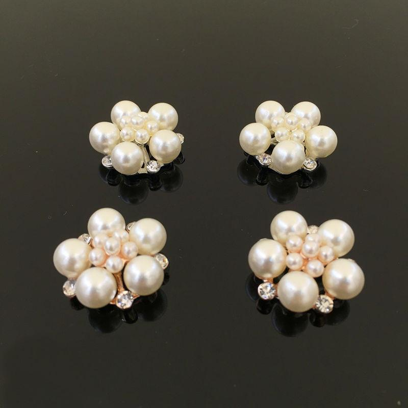 20 PCS 25mm Fashion Alloy Pearl Rhinestone Flowers Connectors Gold Silver Tone Charm For Jewelry Making DIY Accessories