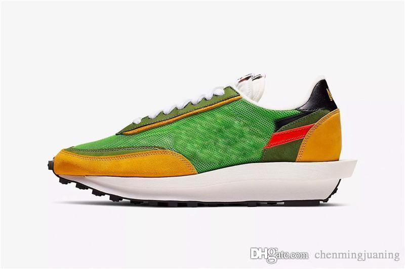 Yeni Relelase Sacai x LDWaffle Blazer Orta Koşu Ayakkabıları Erkek Kadın Yeşil Gusto Varsity Mavi Eğitmenler Spor Sneakers BV0073-400 Kutusu ile
