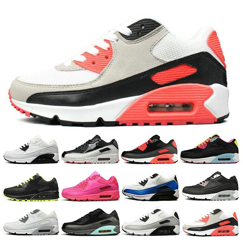 Nike air max 90 Yeni Sneakers Erkek Ayakkabı klasik Erkek kadın Koşu Ayakkabı Siyah Kırmızı Beyaz Spor Eğitmeni Hava Yastığı Yüzey Nefes Spor Ayakkabı 36-45