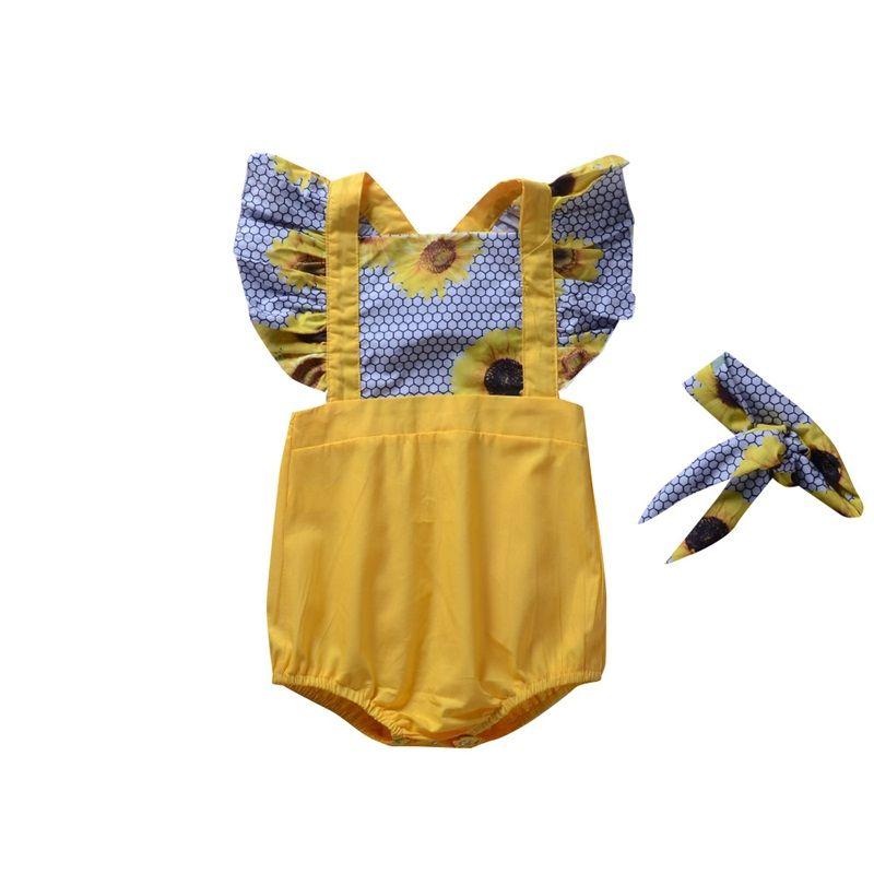 Sommer Baby Kurzarm Overalls Set Sonnenuhr Fliegenhülse Kriechanzug Spitze Weich Lüften Gelb Bunte Schnell Trocknend