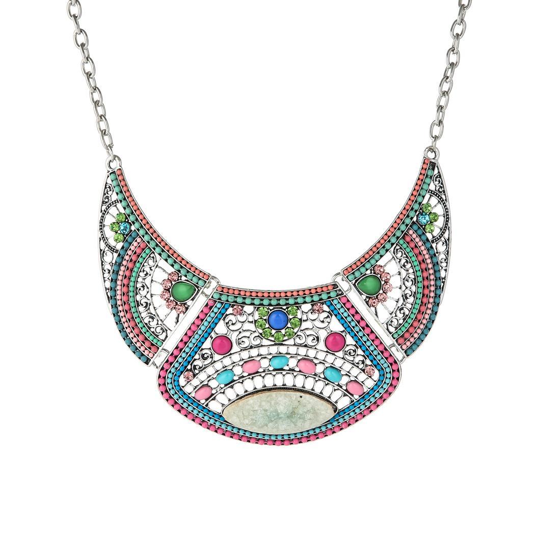 خمر نمط فضة مع الخرز الملونة وبيان حجر الراين necklae وللمجوهرات حزب النساء
