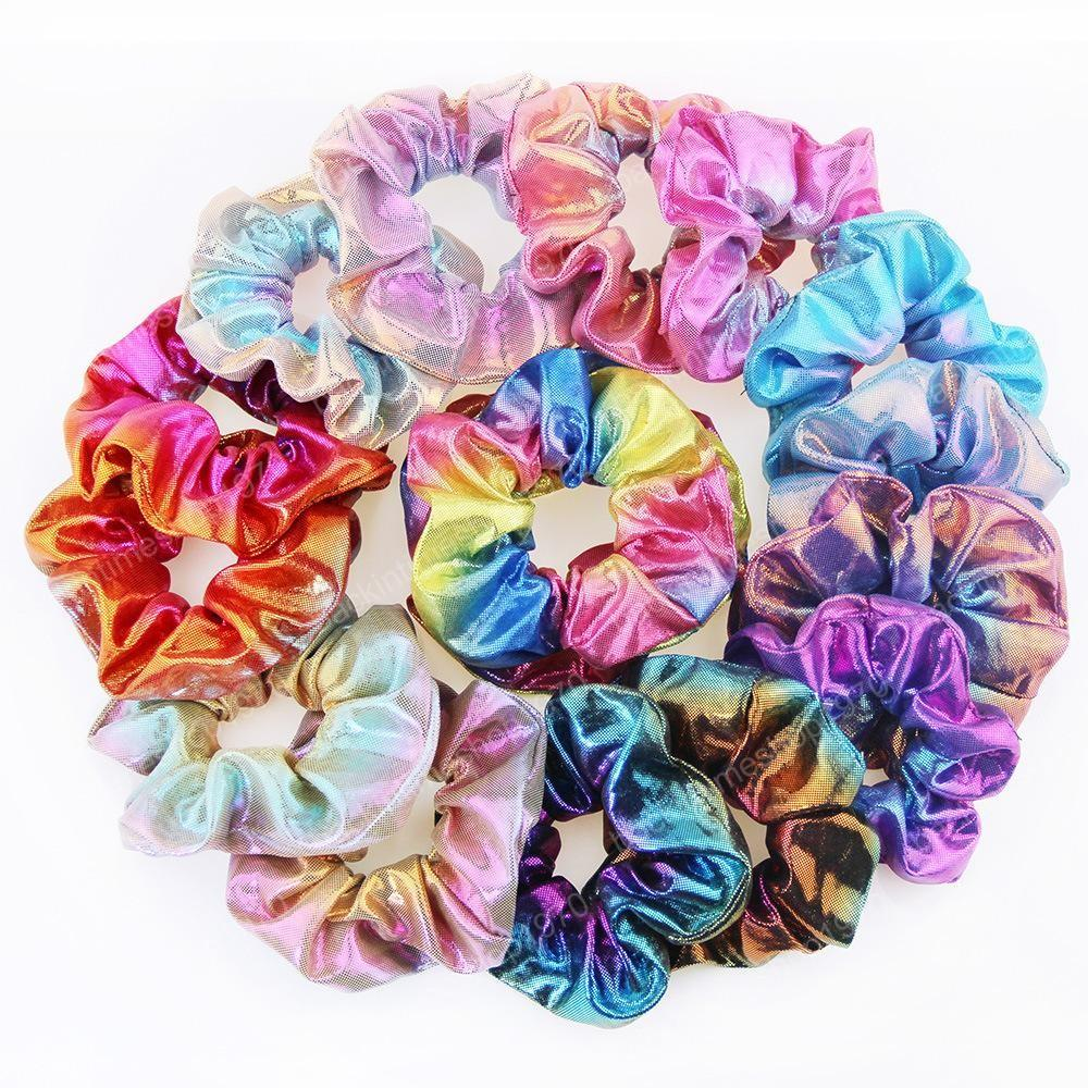 Women Girl Children Elastic Glitter Ponytail Holder Hair Rubber Bands Laser Radiation Colorful Hairbands Scrunchy Accessories Free Shipping