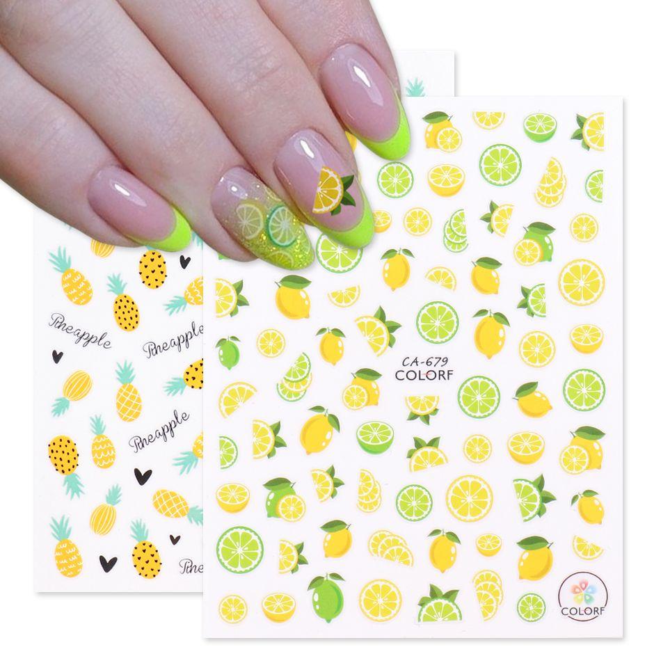 3D 레몬 파인애플 네일 아트 노란색 스티커 네일 데칼 여름 접착제 다채로운 과일 파파야 매니큐어 슬라이더 호 일 CHCA675-681