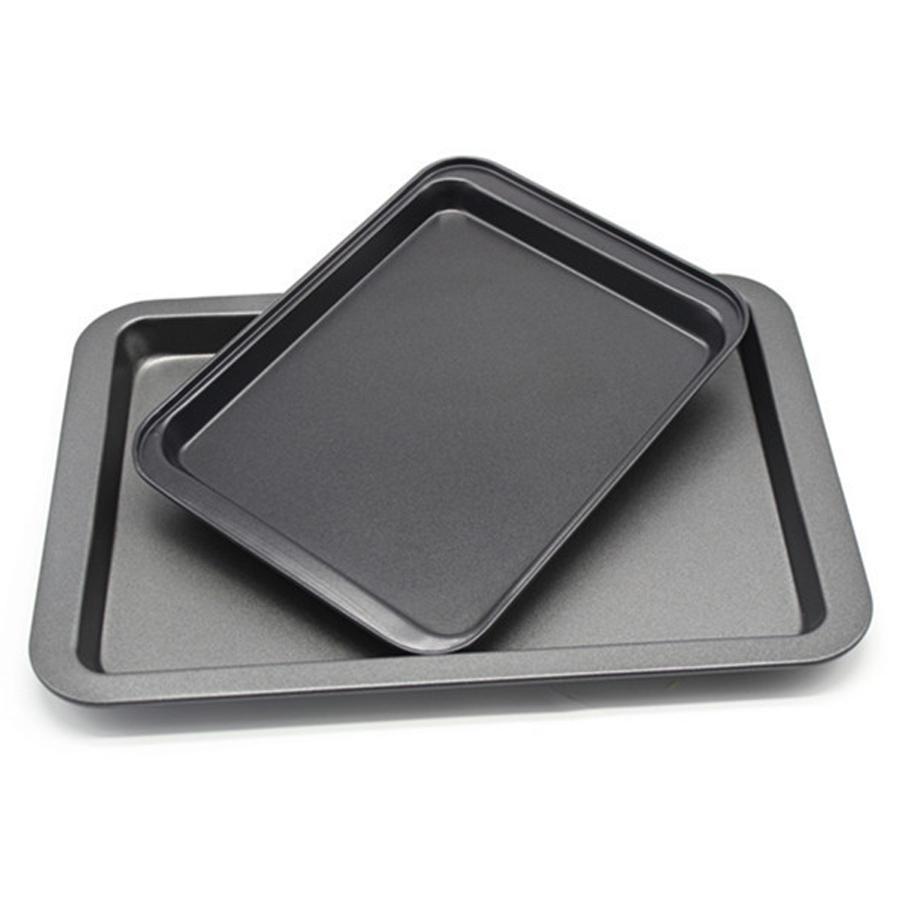 24 * 18 * 2 см Тарелки Gold Black Food Grade из нержавеющей стали для выпечки Diy выпечки Инструменты Прямоугольная антипригарная хлеба торт Противень DH0642-2 T03