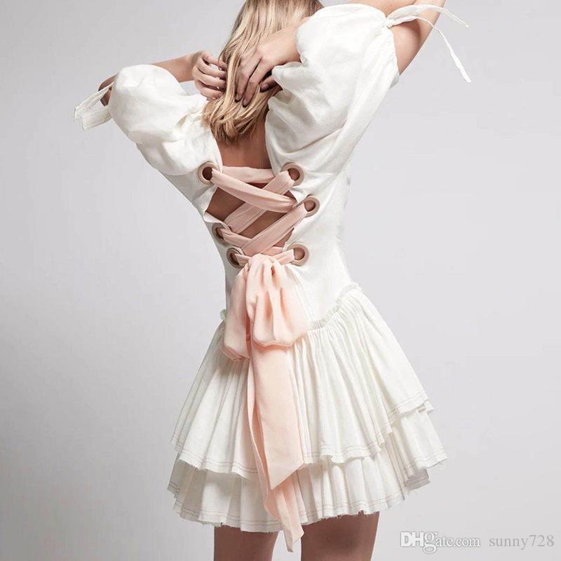 Abito da sera Nobile donne alla moda Lace Up maniche corte posteriore Puffy girocollo elegante signora Party abiti con increspature di fondo reale Immagine