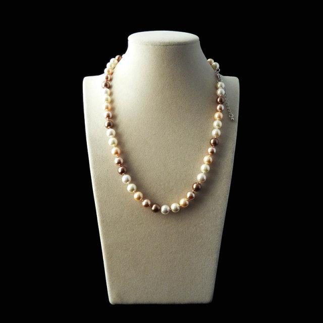 wind strands 8mm mix Coffee South Sea Shell Pearl necklace Sweater Chain Women Gift word 925 silver jewelry