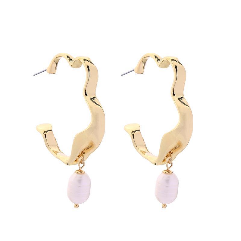 Eleganter Schmuck Hochzeitsgeschenk Rose Golden Pearl Frauen Anhänger Ohrringe