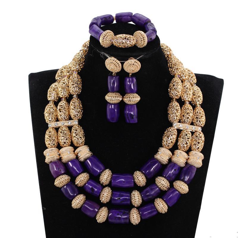 Magnifiques perles originales pourpre corail Ensemble de bijoux africains Bijoux de mariage pourpre Brides Nigerian Neckpiece Set CNR041 CJ191203