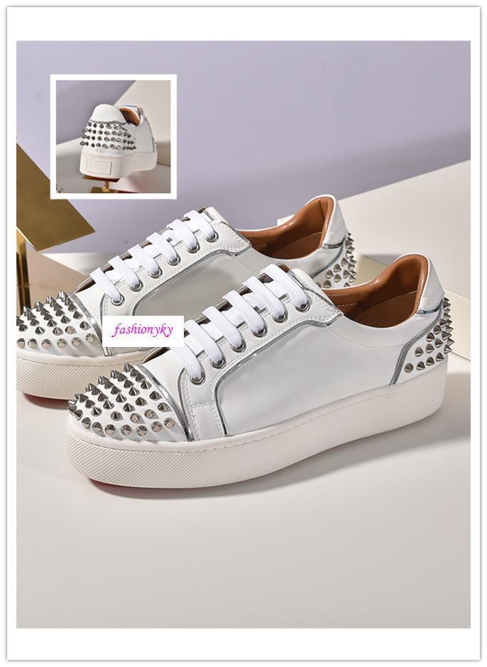 TOP NUOVO arrivo di lusso del progettista Krystal Spike Calzino Donna piatto Sneakers Uomo Scarpe Red Bottoms donne Rivet piatto scarpe taglia 35