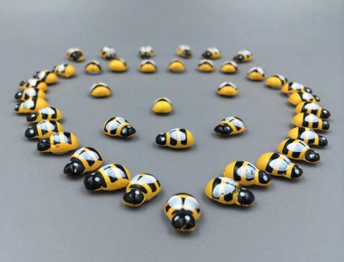 100PCS//Lot Mini Bee Wooden Ladybug Sponge Self-adhesive Stickers Fridge//Wall Sticker Kids Scrapbooking Baby Toys