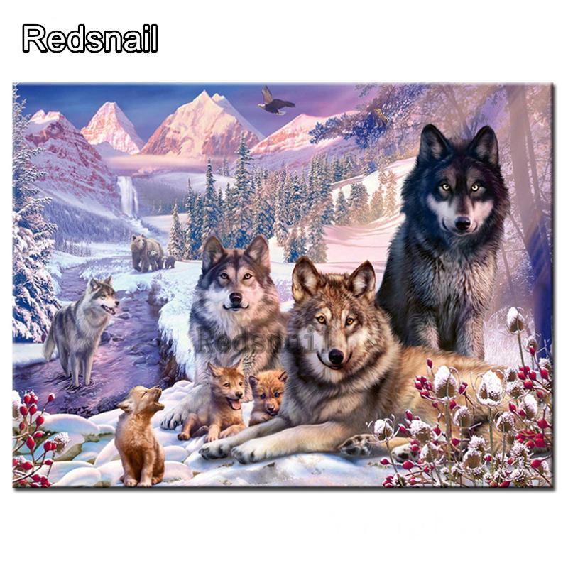5d fai da te Foresta lupo famiglia diamante Pittura piazza piena rotonda trapano resina 5d fai da te kit di ricamo diamante decorazione a mosaico TT294
