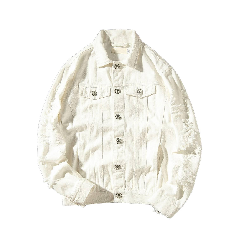 데님 자켓 남자 찢어진 구멍 망 핑크 진 재킷 의류 세척 망 데님 코트 디자이너 옷