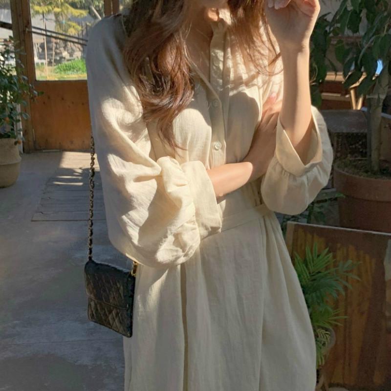 Femmes Printemps Coton Lin Chemise longue robe vintage en vrac Taille Plus Jupettes Midi Robes Solide Couleur