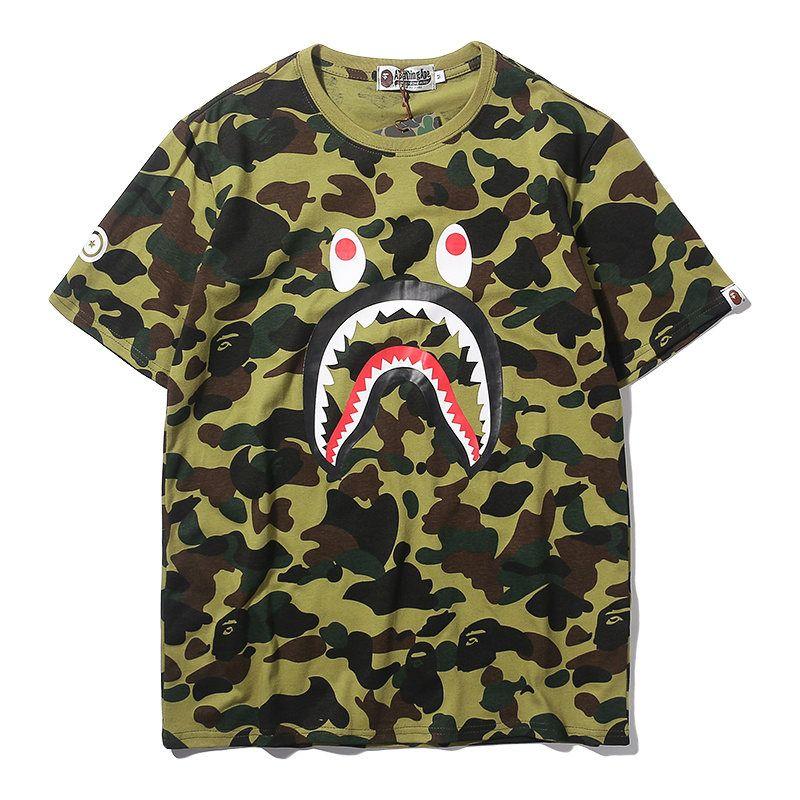 Designer Hommes T Shirt 2020 D'Été Nouvelle Marque Vêtements De Mode Requin Bouche Motif Manches Courtes Camouflage Tops Lâche Hip Hop Portant T Shirts