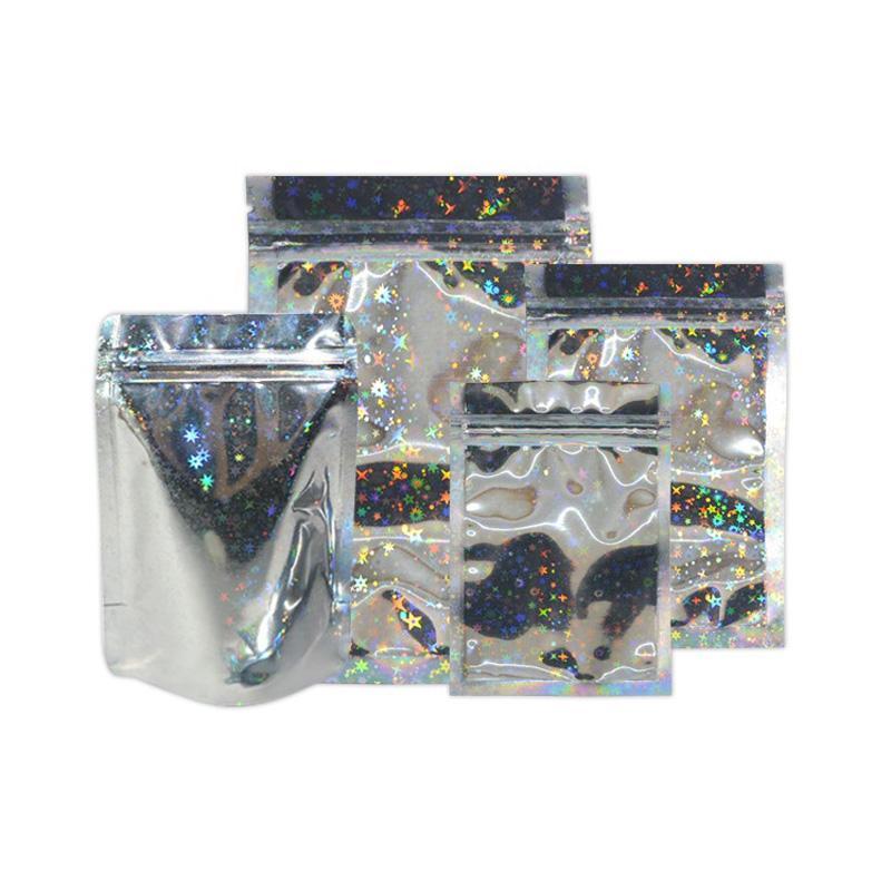Bolso estrella Color Embalaje Recosible Hot Hoil Zipper Bolsa Laser Láser Mylar Alimento Comestibles Aluminio Venta de Aluminio Packing Hbedq