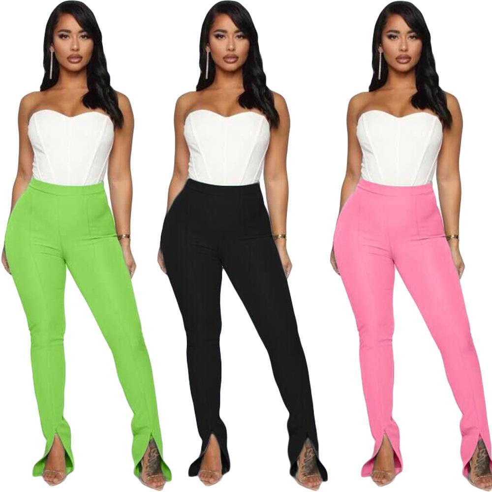 2020 Fashion pantalons fendus taille haute Pantalons Skinny moulantes pantalon vert noir Club Tenues Leggings femmes