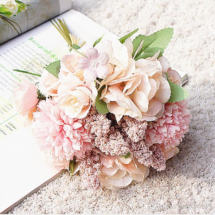ipek yapay çiçek Ortanca buket Holding çiçek salon ev dekorasyon yatak odasında ev düğün dekorasyon çiçek duvar 7 renk