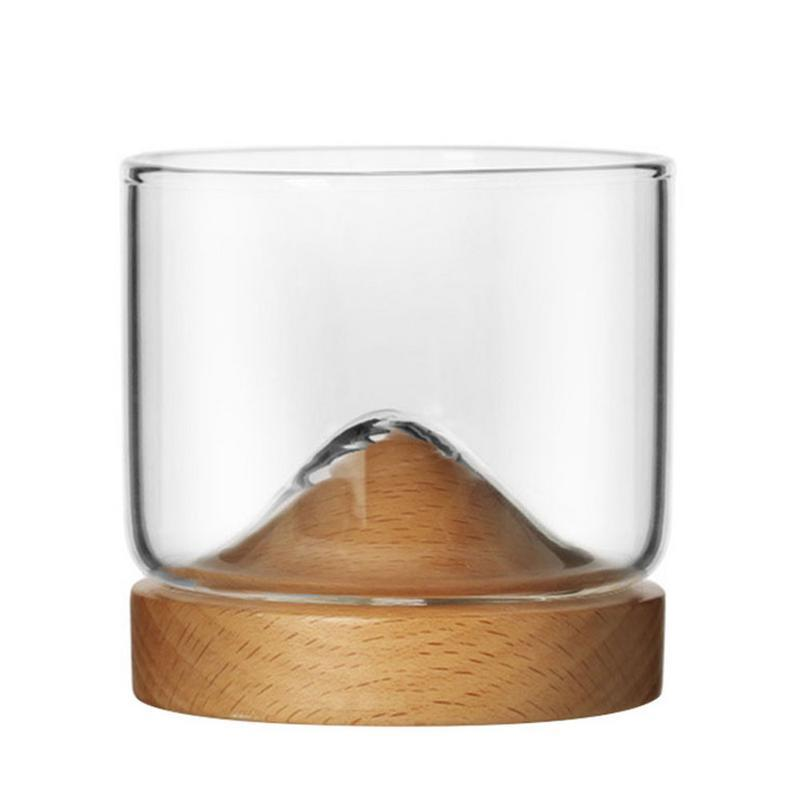 New Whiskey Glass Small Glass Japanese Style Mountain Wooden Bottom Wine Glass Y200107