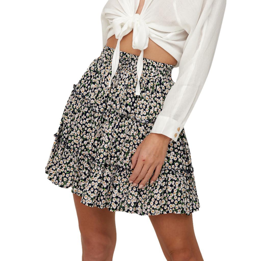 Mulheres Verão Casual Bohe cintura alta Ruffled Floral Imprimir Praia Short Skirt Falda Rocha Jupe Etekl faldas mujer moda 2.019 # N45