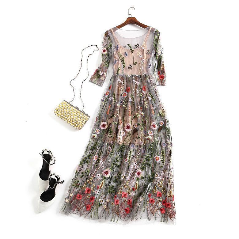 Вышивка платье партии Runway Цветочного богемский цветок Вышитые 2 шт Vintage BOHO Mesh Платье для женщин Платья D75905 CX200615