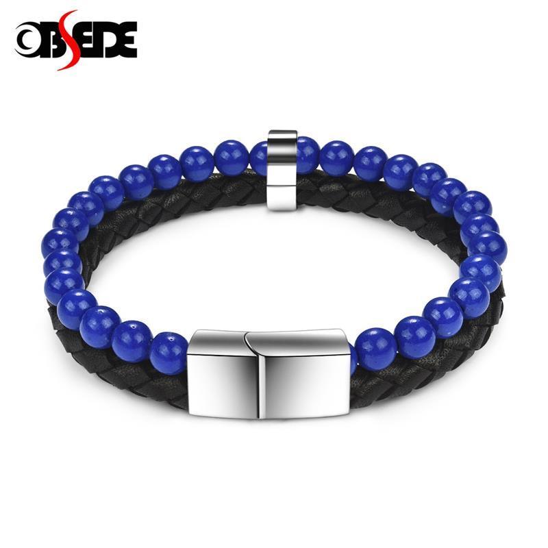 Presente de Natal Blue Stone Natural Pulseira de couro genuíno de aço inoxidável magnético Fecho trançado Bangle Men pulso Jóias