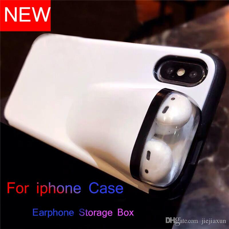 Luxury Designer With Earphone Storage Box Cell Phone 2 In 1 Case