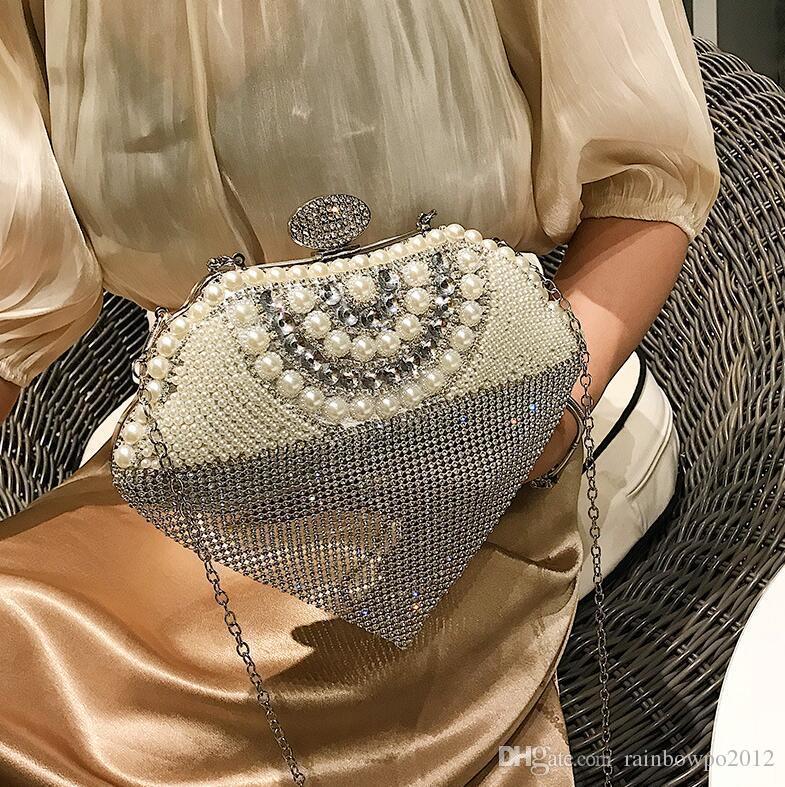 Factory wholesale brand women handbag summer new fashion Pearl studded dinner shell bag foreign gas studded tassel handbag fashion chain bag