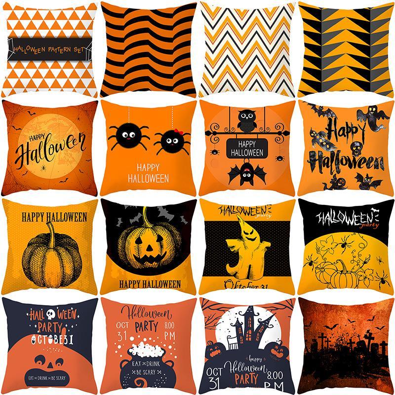 45*45cm new Halloween pillowcase orange geometric pillowcase Bedding Supplies customed pumpkin print cushion cover home decor 40 colors