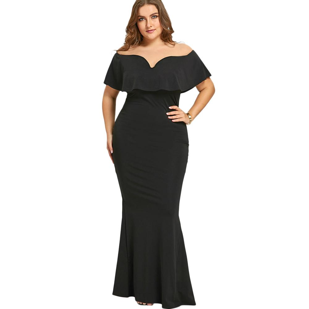 Gamiss Women Women Black Long Dress Plus Size Ruffle Off The Shoulder Mermaid Dress For Evening Party Short Sleeves Vestidos Y19012201
