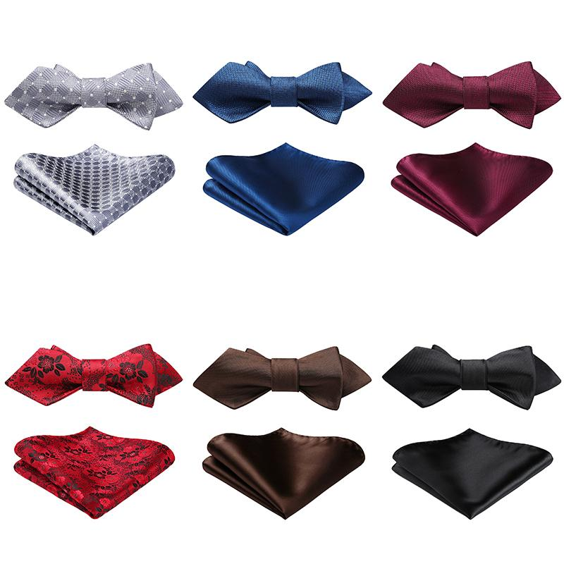 by HISDERN Mens Solid Color Ties Formal Satin Necktie and Pocket Square Set Wedding
