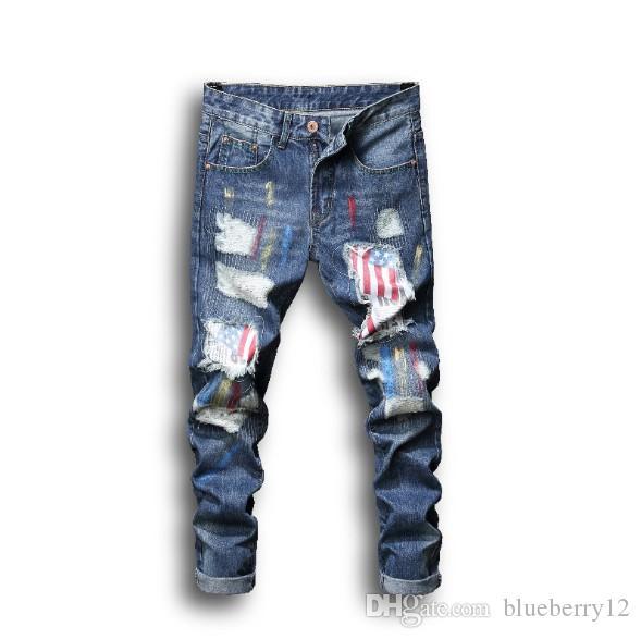 Jeans Hommes Summer Fashion Style Street Wear impression peint Trou Patch Vente Hot Asian Taille Livraison gratuite