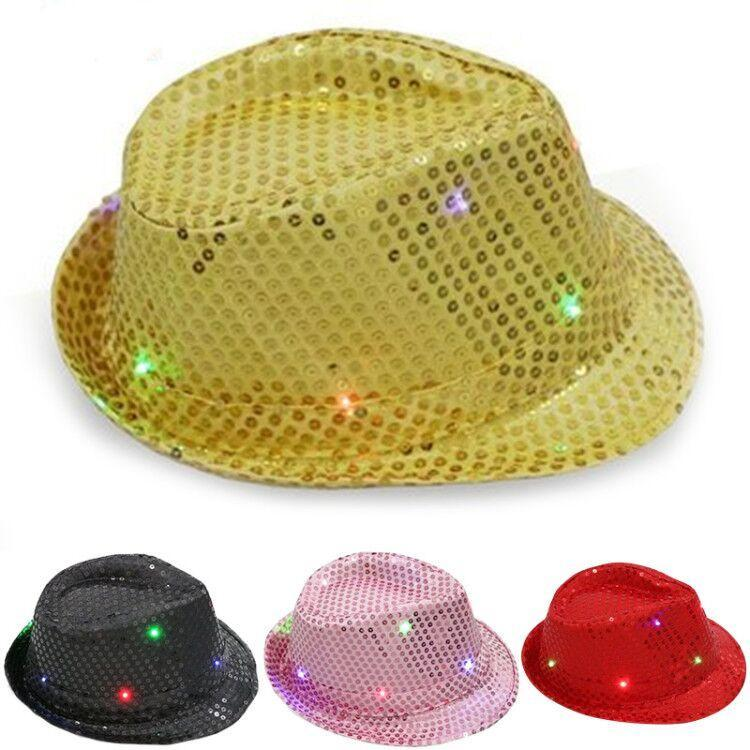 1pc Cool LED Light Jazz Hat Blinking Flashing Sequin Cap Woman Men Adult Glow Christmas New Year Birthday Party Supplies