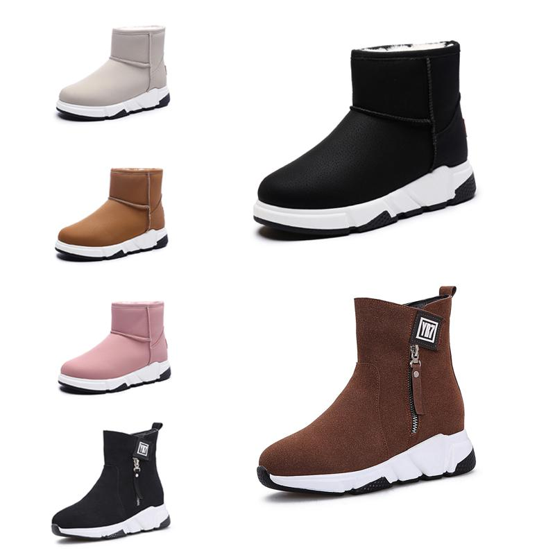 2019 New Non-Brand fashion women boots Triple Black Red Beige Brown Suede winter snow ankle boots outdoor walking shoes 35-40 Style 14