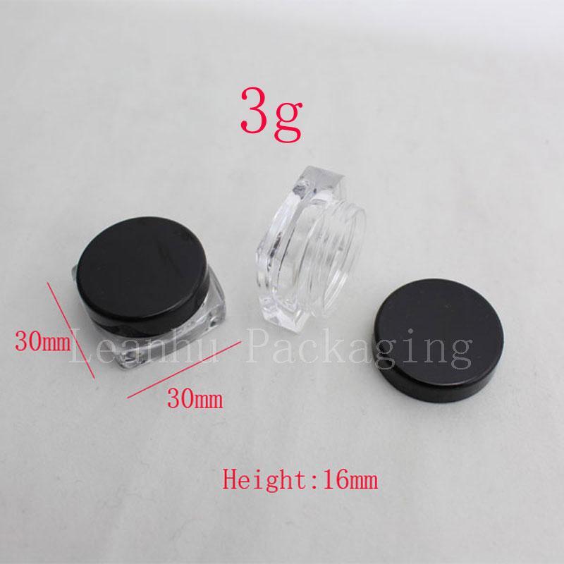 kozmetik ambalaj parfüm Solide kabı örnek için 3 g küçük kare örnek krem plastik şişe kavanoz kap kabı siyah kapak