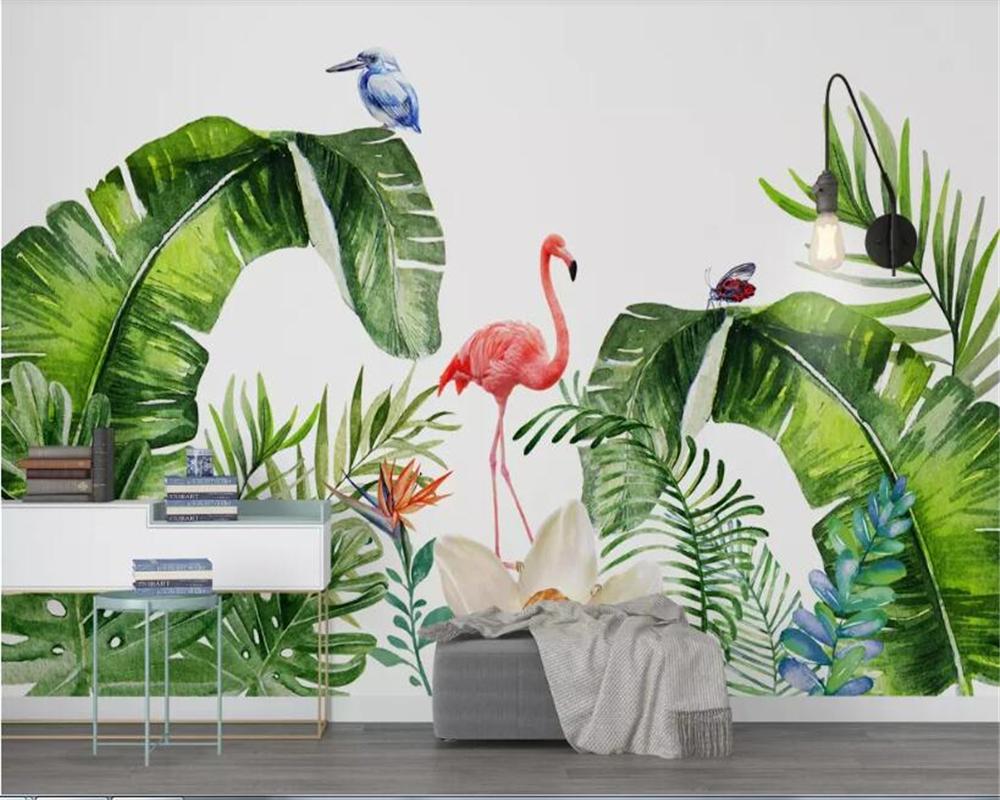carta da parati mattoni beibehang 3d della decorazione della casa su misura Nordic Pianta tropicale Fenicottero Sfondo parete 3 d wallpaper per pareti