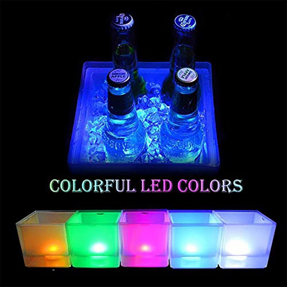 LED benna di ghiaccio 3.5L colorato che cambia la benna del dispositivo di raffreddamento a doppio strato Piazza Vassoio di ghiaccio Per Bar Birra Champagne Vino beve birra