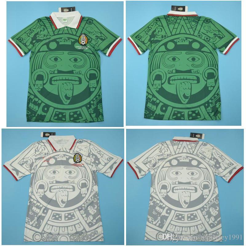 Thai 1998 Mexique Rétro chandails vintage classique maillot de football vert Accueil HERNANDEZ BLANCO chemise 98 de football camisa de futebol
