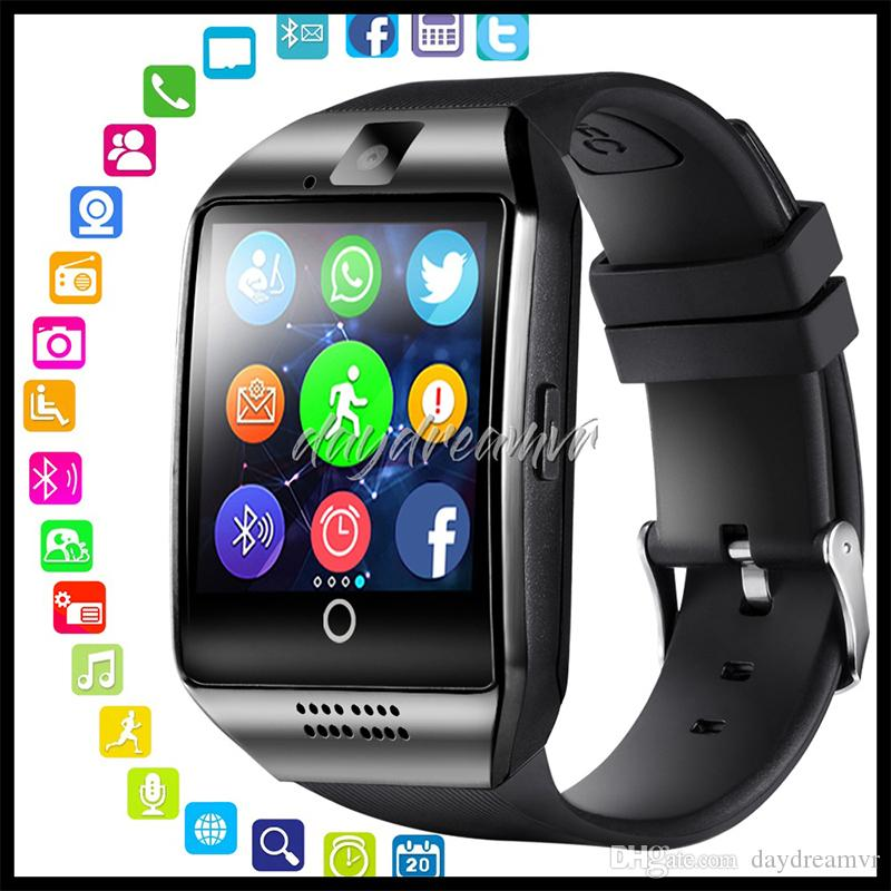 Q18 relógio inteligente Bluetooth Wearable Curvo tela da câmera de alta qualidade Suporte NFC SIM GSM Facebook para o telemóvel iPhone X XR Samsung Android