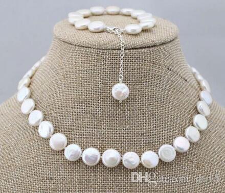 Prett Lovely Women's Wedding charm Jew.656 Fashion genuine natural coin freshwater pearl necklace&bracelet 1 set