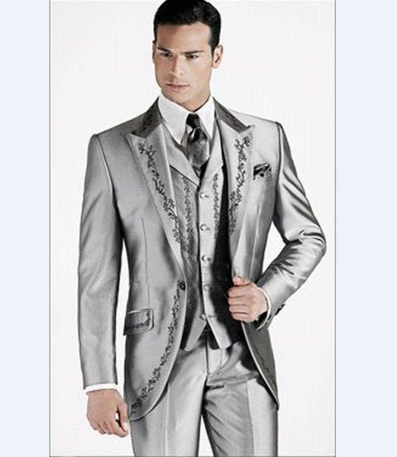 Yüksek Kaliteli Tek Düğme Parlak Gümüş Nakış Damat Smokin Tepe Yaka Erkekler 3 Parça Düğün Balo Blazer Suits (Ceket + Pantolon + Yelek) W461